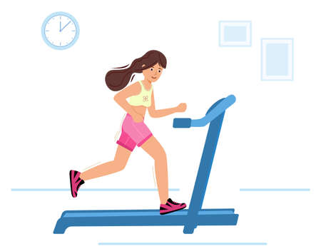 woman running on motorized treadmill. Sportive young girl is Jogging in room.