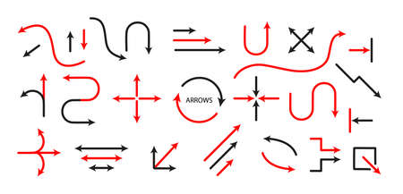 Big Set Arrows and directions signs. thin line and arrow.