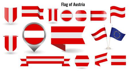 The Flag of Austria. Big set of icons and symbols.