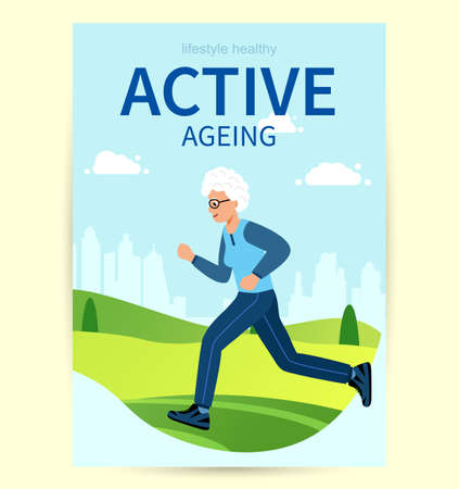 Design Poster Active ageing. Elderly woman is engaged in sports