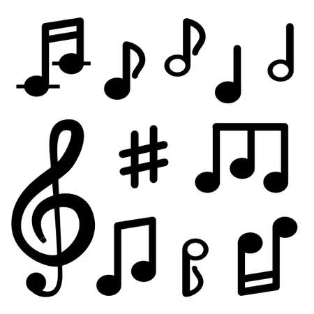 Musical notes isolated on white background. Signs of musical notation