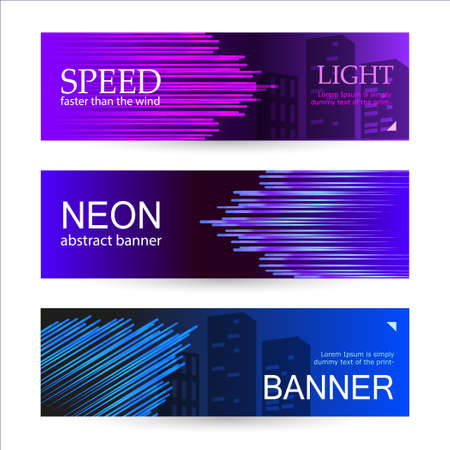 Set of horizontal dark banners with glowing stripes of purple, blue and pink. Universal template with empty place for text. Abstract vector background.