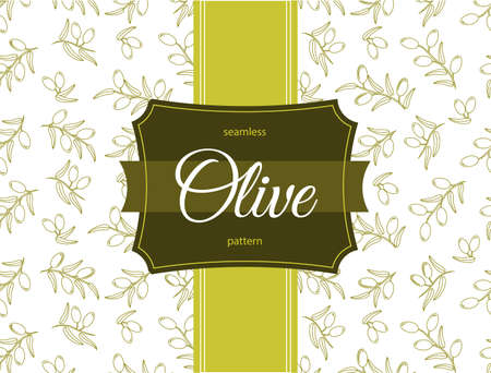 Olive seamless pattern. For Label or box design template,
