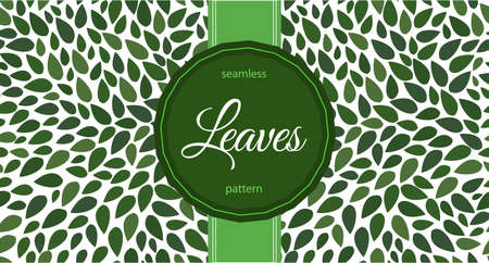 Seamless leaves pattern. label with text on floral ornament.