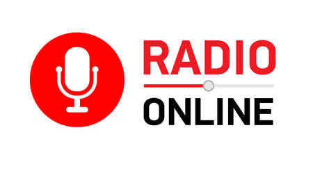 Vector illustration button Online radio. circle with microphone.