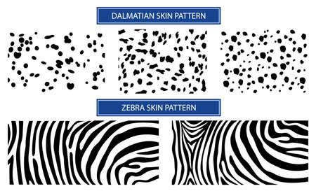 Pattern skin for textile design. Set Skin dalmatian spots and ze