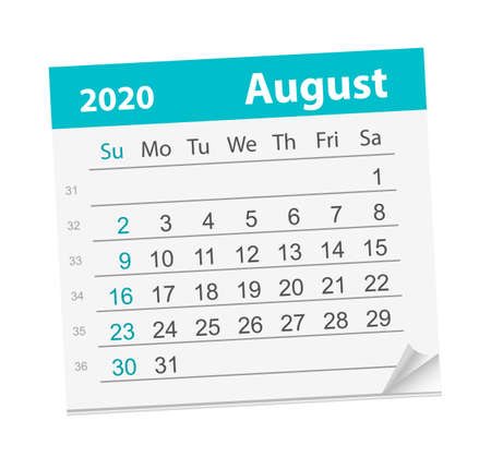 Calendar sheet for the month of August 2020.
