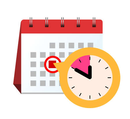 Calendar table stands with the deadline date and a clock