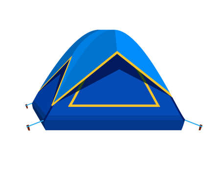 Bright blue tourist tent icon. Isolated on white background.
