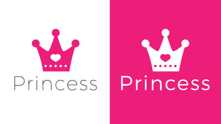 Pink sign crown princess. Design modern logos queen crown for Business.