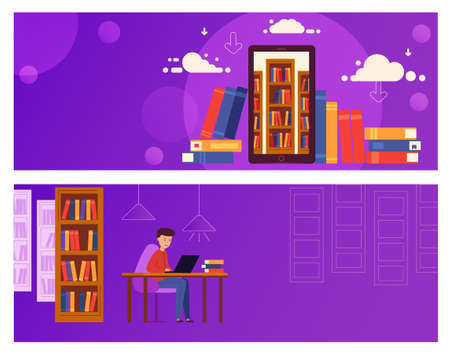 Banner Online Education for website. The guy is sitting at a laptop and studying