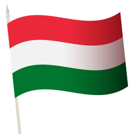Vector Waving flag on a flagpole. The national flag of Hungary. 矢量图像