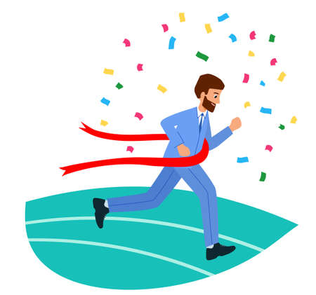 Happy businesswoman crossing the finish line. The concept of business victory. 矢量图像