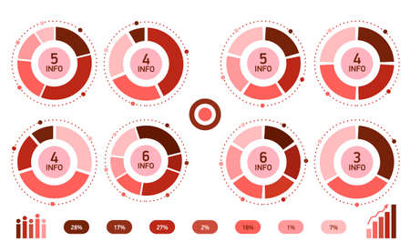 red Abstract infographics circle. Template cycle diagram, graph, presentation chart.