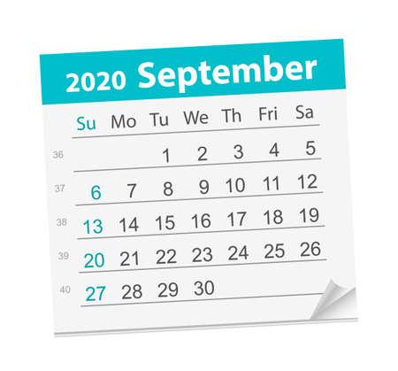 Calendar sheet for the month of September 2020. 矢量图像