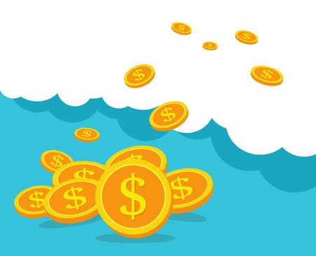 Business concept, Coins on blue clouds. Business and finance management, Illustration