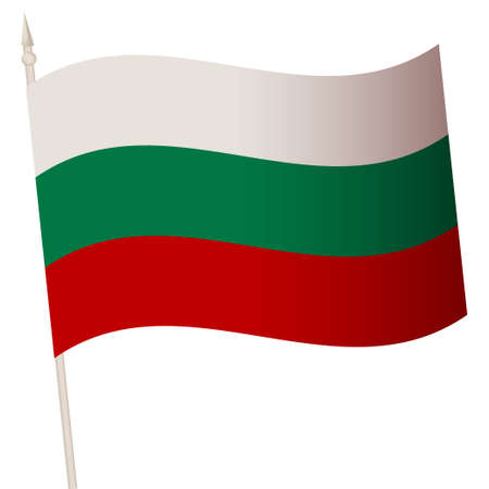 Vector Waving flag on a flagpole. The national flag of Bulgaria.