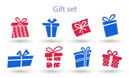 Big collections red and blue gifts box. Present box icons Silhouette 矢量图像