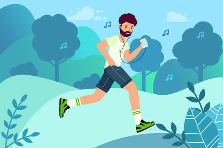 Happy runner listens to music. Outdoor training, athletics