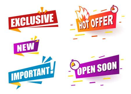 Set color Banner ribbon exclusive and new. Speech bubble announcement. 矢量图像