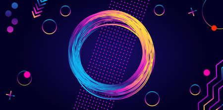 Frame of glowing circle and rainbow geometric shape.