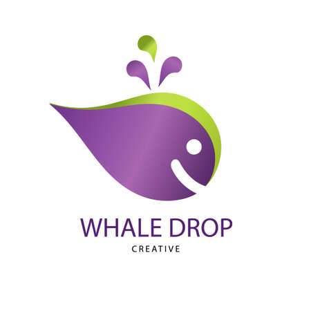 Abstract Bright whale drop sign. Design modern logos water for Business. 矢量图像