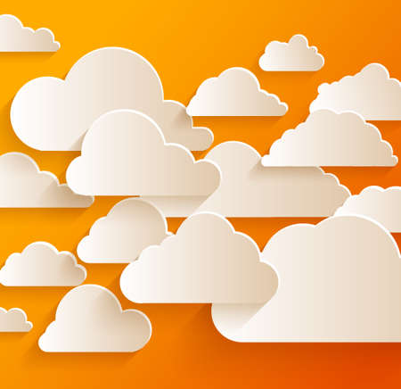 Bright abstract background with white paper clouds.