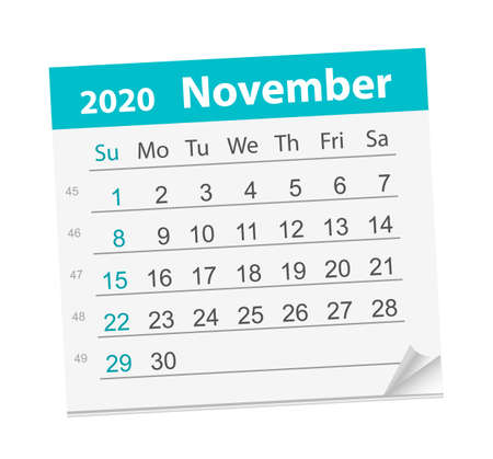 Calendar sheet for the month of November 2020 矢量图像