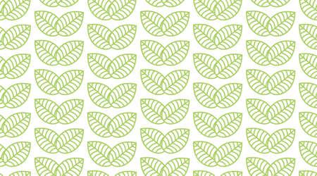 Seamless linear leaves pattern. Horizontal plant vector. Ilustração