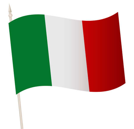 Vector Waving flag on a flagpole. The national flag of Italy. 矢量图像
