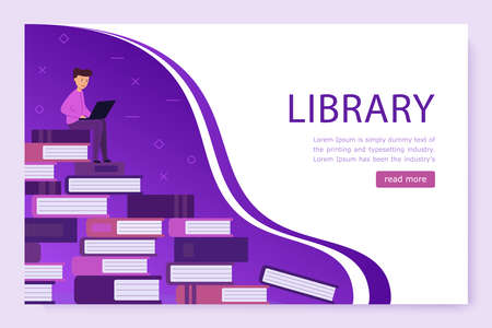 Landing page template. Library Online. a large pile of books 矢量图像