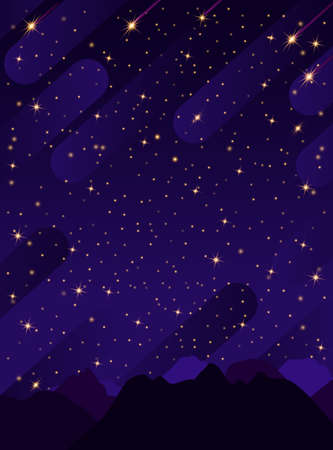Starry sky with bright and dim stars in the mountains.