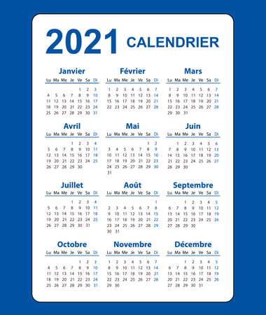 Vertical color pocket calendar on 2021 year, French.