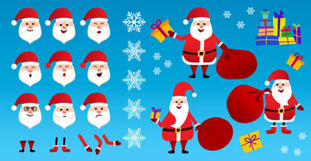 Santa Claus in red clothes. Set of different emotions character Santa.