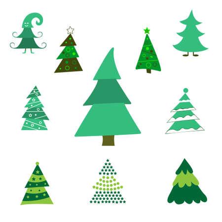 Collection of Christmas trees, modern flat design. Vektorové ilustrace