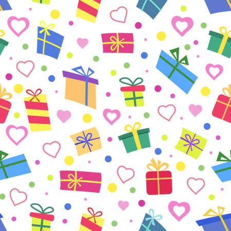 Vector Seamless pattern with gifts. Many gift boxes