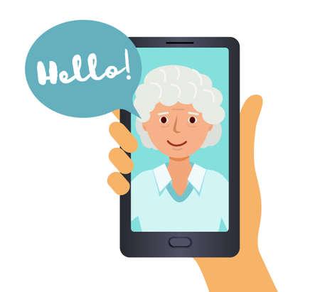 Call on your smartphone, grandma says Hello. Illusztráció