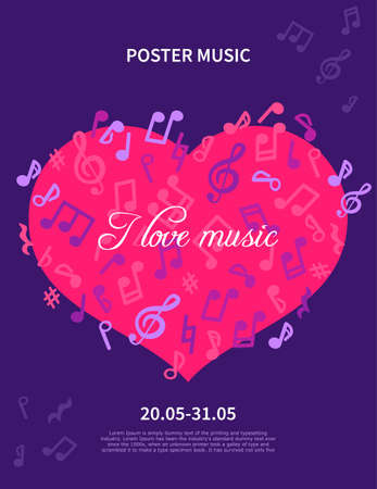 Abstract Poster Music. Vector concept, I love music. layout with flying note
