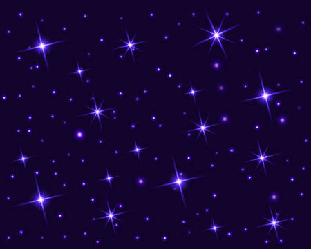 Starry sky with bright and dim stars. Dark star seamless pattern