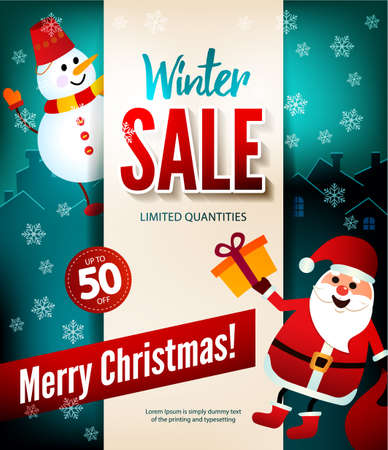 Winter sale up to 50 percent, Christmas poster.