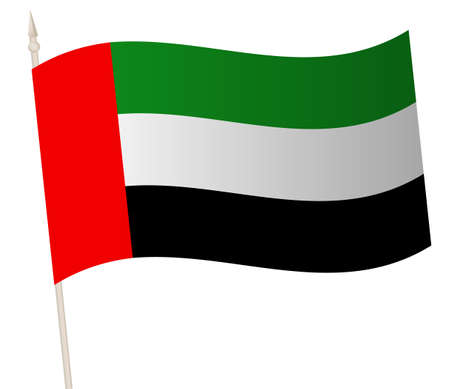 Vector Waving flag on a flagpole. The national flag of UAE.