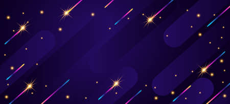 Christmas sparks on dark background. Abstract geometric horizontal background.