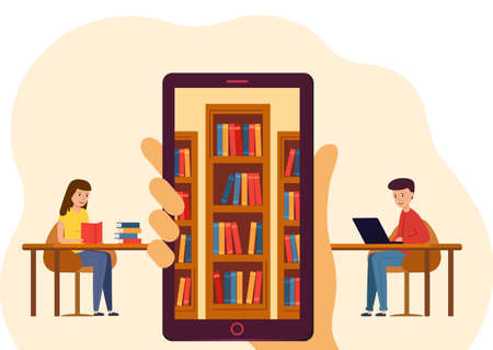 Online Education for website or mobile website. Hand holding a mobile