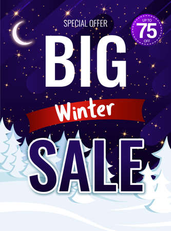 Christmas poster with discounts to advertise the store. Vettoriali