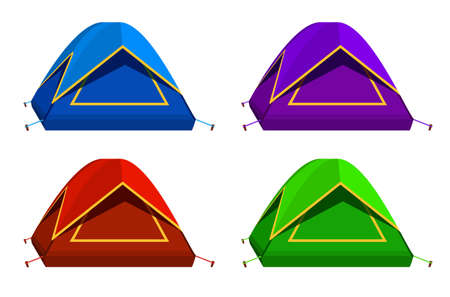 Set Bright colourful tourist tent icon. Isolated on white background. Vettoriali