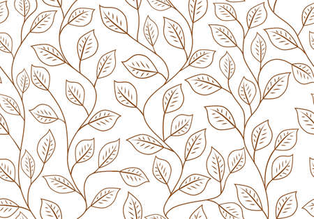 Seamless linear pattern. Vector Floral ornament of leaves