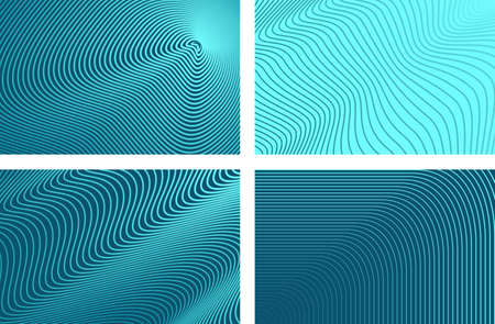 Abstract horizontal striped background. Ultra thin abstract wavy lines on aqua Vettoriali