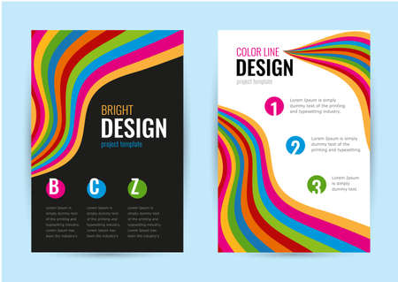 Bright leaflet with bright rainbow line on white and black background. Abstract vector vertical banners color line.