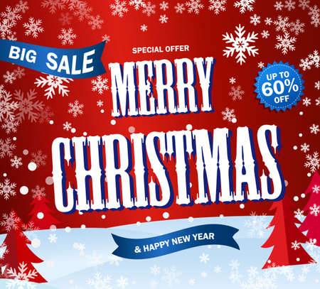 Red Banner Big sale. Text Merry Cristmas and Happy New Year.