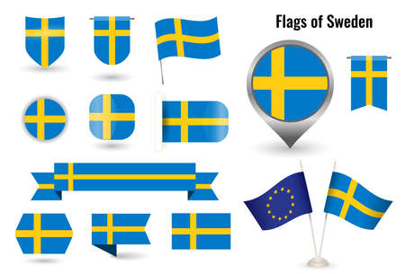 The Flag of Sweden. Big set of icons and symbols. Vettoriali